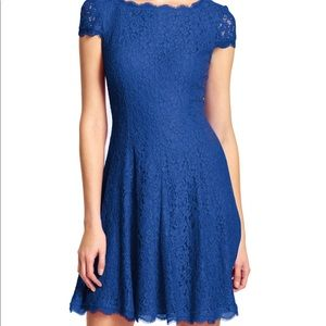 Lace Cap Sleeve Fit & Flare Dress